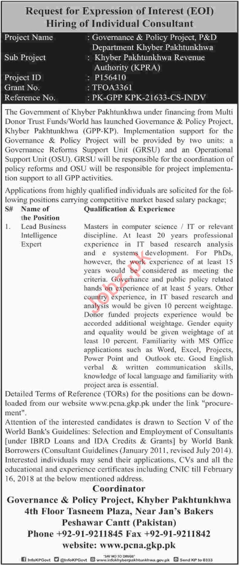 Khyber Pakhtunkhwa Revenue Authority KPRA Peshawar Jobs
