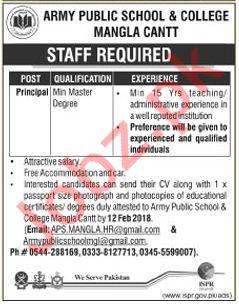 Army Public School & College APS & C Mangla Cantt Jobs