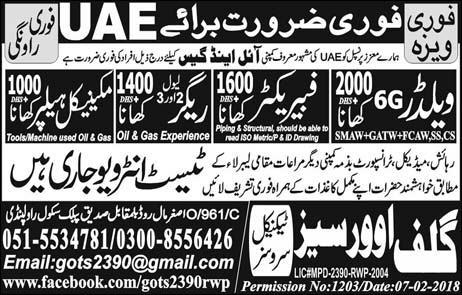 Welders, Fabricators Job in UAE Famous Oil and Gas Company