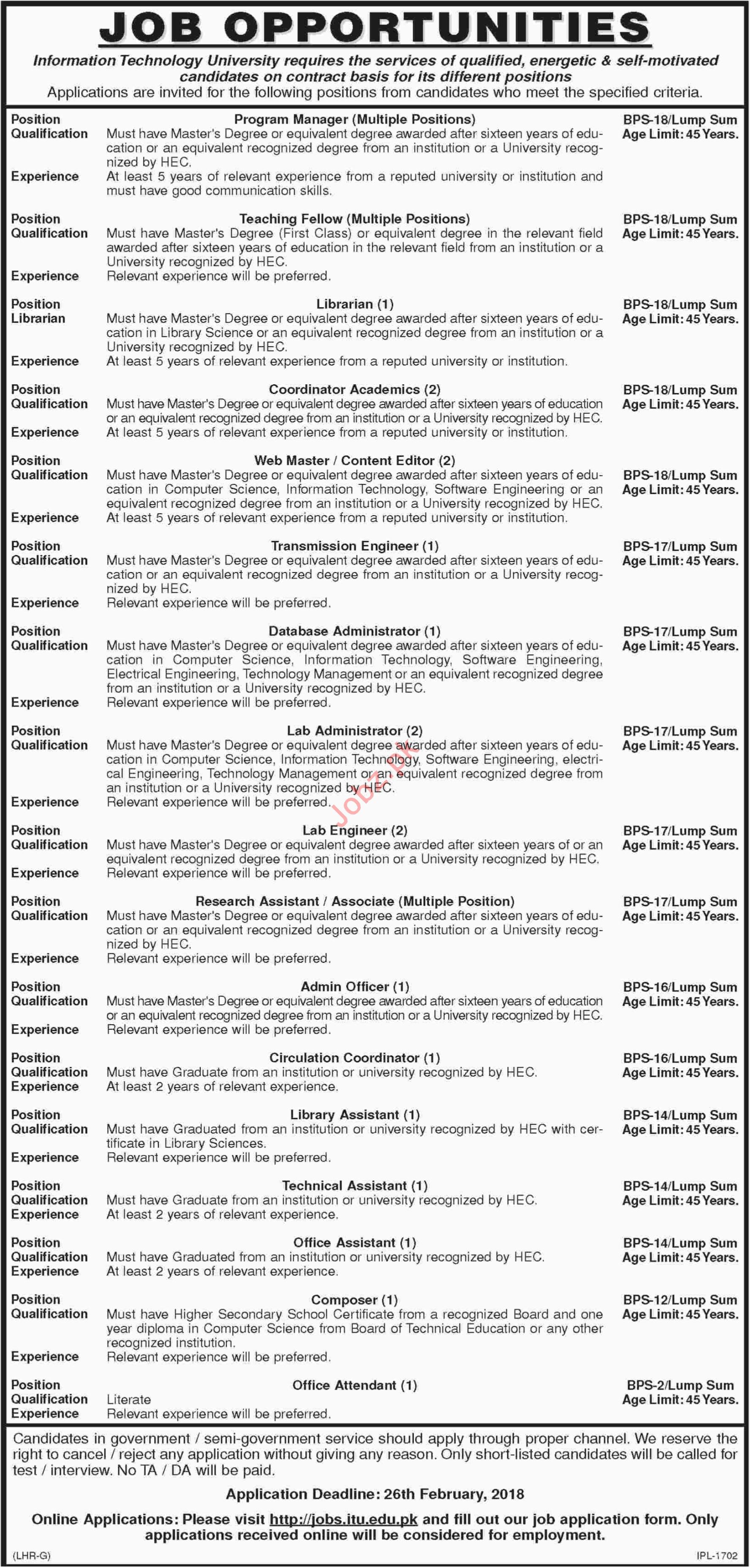 Information Technology University Karachi ITU Jobs 2018