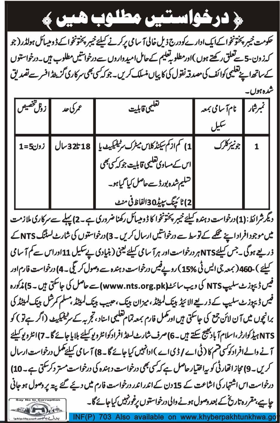 Junior Clerks Job in  Government of Khyber Pakhtunkhuwa