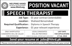 speech Therapist Job in Helping Hand For Relief in Quetta