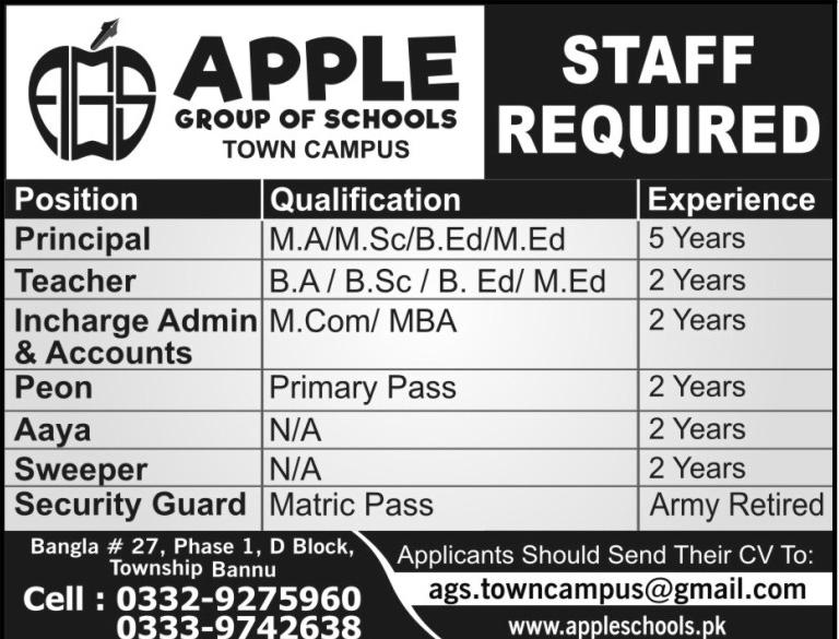 Principal, Teachers Job in  Apple Group of Schools