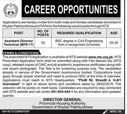 Assistant Director Job in KPK Provincial Housing Authority