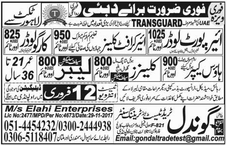House Keepers, Cleaners, Labors, Air Port Loaders Wanted