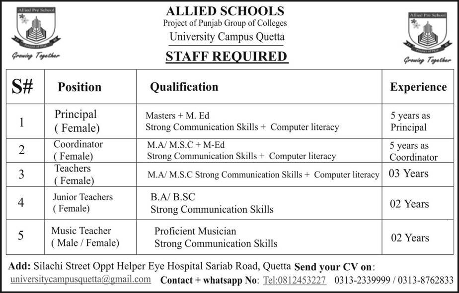 Female Principal, Female Coordinators Job in Allied School