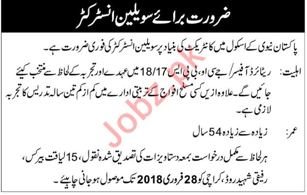 pakistan navy school karachi jobs 2018 civilian instructor 2019 job