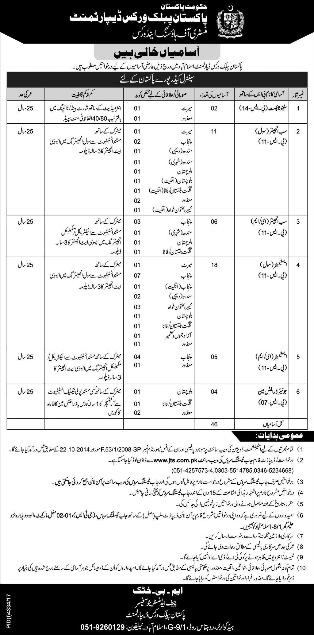 Pakistan Public Works Department PPWD Jobs
