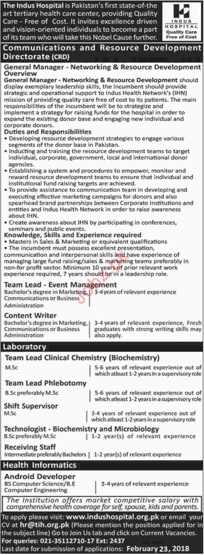 Indus Hospital IHN Karachi Jobs 2018