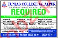 Punjab College Need Principal, Accounts Officer, Teachers