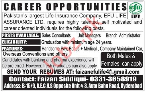 Sales Consultants, Unit Managers, Administrator Jobs 2018