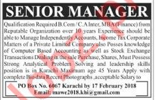 Senior Manager Jobs in Karachi