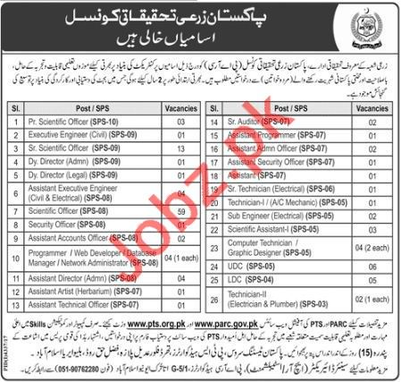 Pakistan Agriculture Research Council PARC Jobs 2018