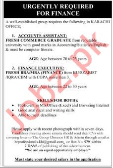 Accounts Assistant & Finance Executive Jobs in Karachi