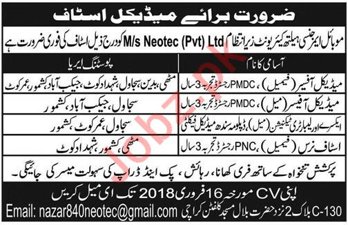 Medical Officers, Technician, Staff Nurse Jobs 2018