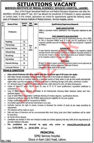 Services Hospital Lahore Jobs 2018 for Professor