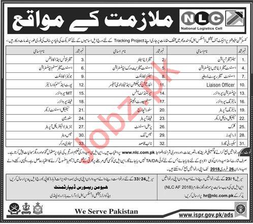 National Logistics Cell NLC Jobs 2018 in Rawalpindi