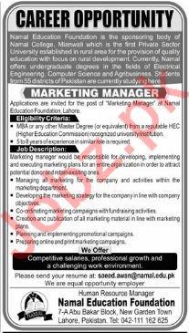 Namal Education Foundation NEF Lahore Jobs 2018