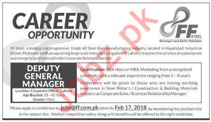 FF Steel Peshawar Jobs 2018 for Deputy General Manager