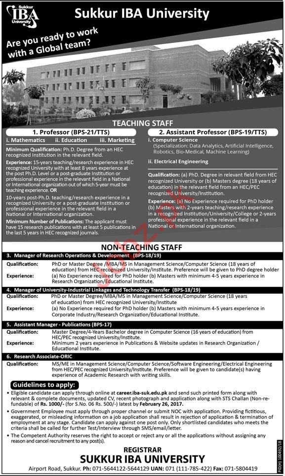 Sukkur IBA University Need Teaching & Non Teaching Staff