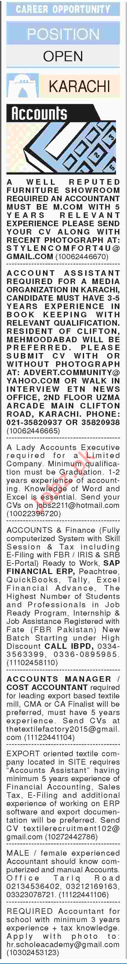 Accounts & Finance Officers Job Opportunities 2018