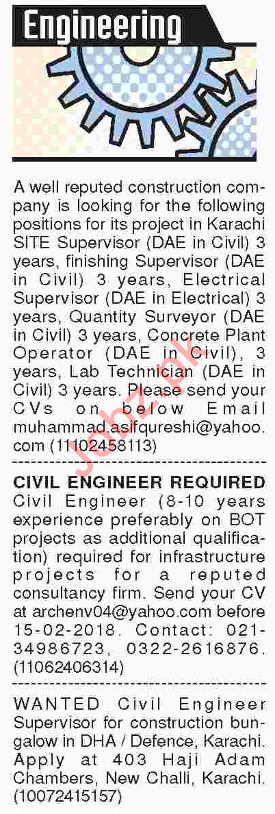 Civil Engineers, Site Engineers, Supervisors Jobs 2018