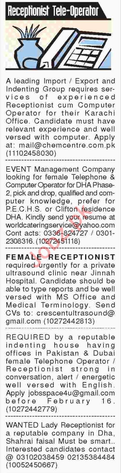 Receptionist / Telephone Operator Job Opportunities 2018