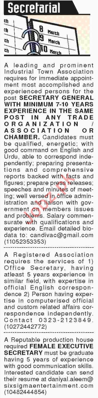 Secretarial Job Opporunities 2018 In Karachi