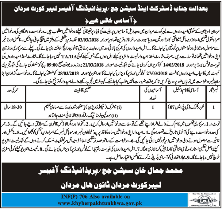 District and Session Judge Mardan Clerical Jobs