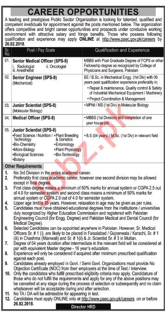 PAEC Pakistan Atomic Energy Commission Jobs 2018