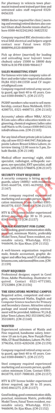 Doctor, Electrician, Driver, Accountant & Sales Staff Jobs