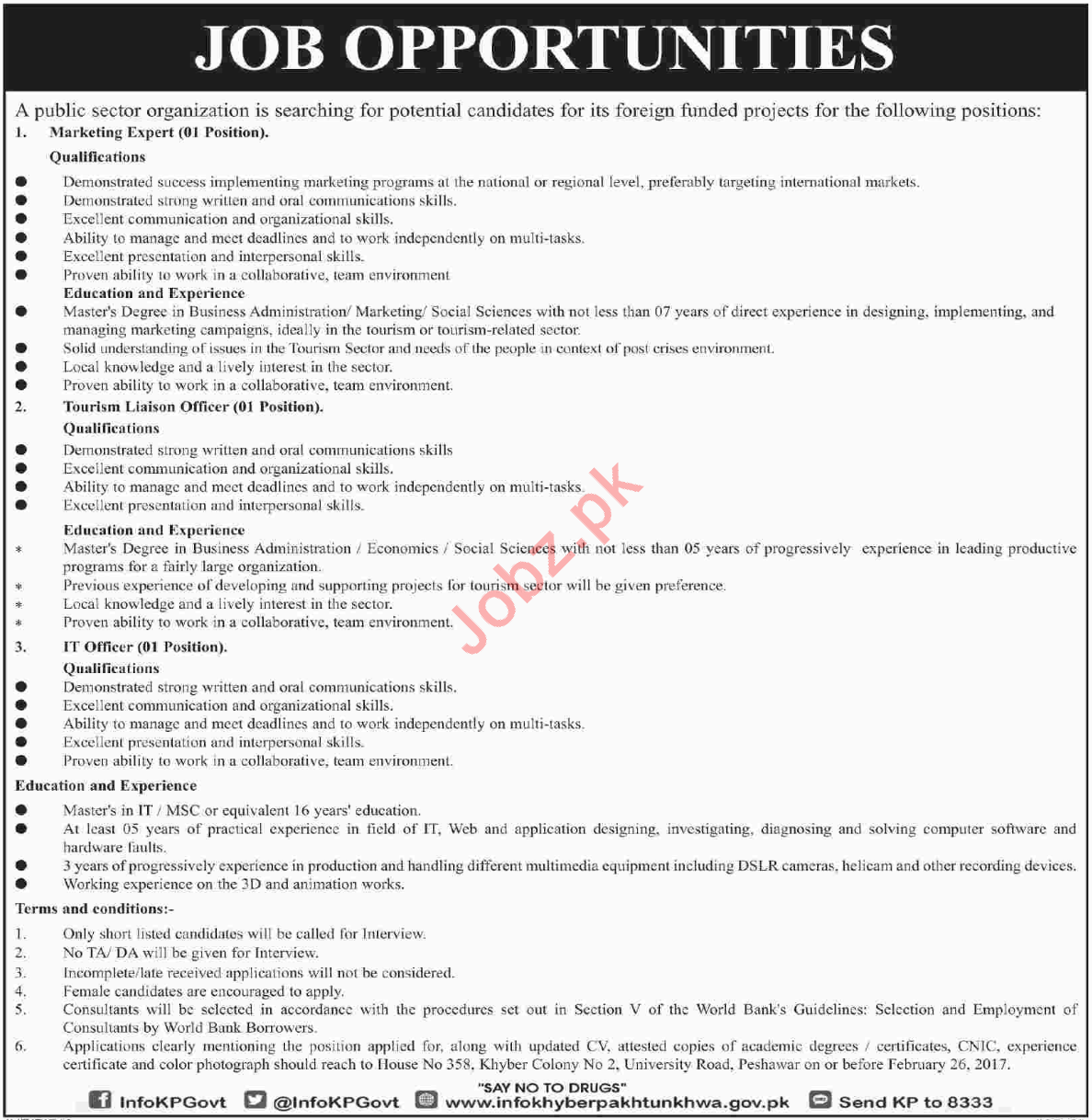 Public Sector Organization Peshawar Jobs 2018