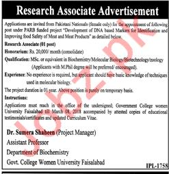 Govt College Women University Jobs 2018 Research Associate