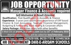 Dar e Arqam School Manager Finance & Accounts Jobs 2018