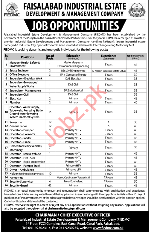 FIEDMC Faisalabad Industrial Estate Development Jobs 2018