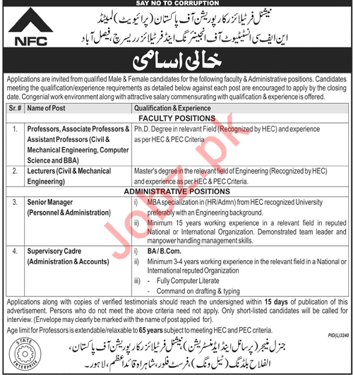 NFC Institute of Engineering & Fertilizer Research Jobs 2018