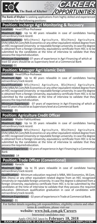 Management Job in Bank of Khyber BOK