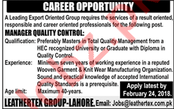 Manager Quality Control Jobs in Private Company