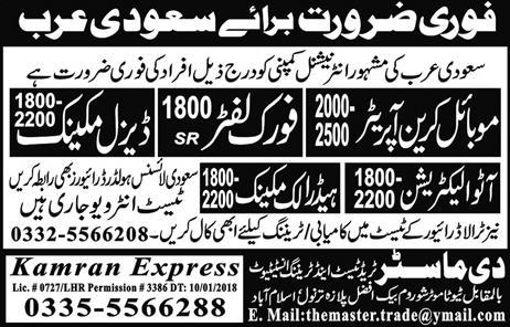Mobile Crane Operators, Diesel Mechanics, Fork Lifter Wanted