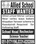 Teachers Job in Allied School in Rawalpindi