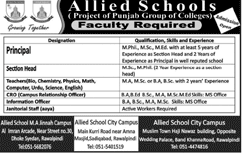 Teachers Job in Allied School in  Saddar Campus Rawalpindi