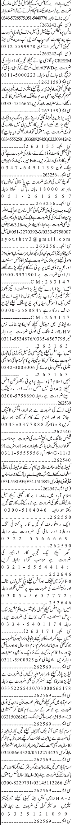 Female Researchers, Anchors Persons, Waiters, Cook Wanted