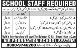 Teaching Staff Job  Air Foundation School System