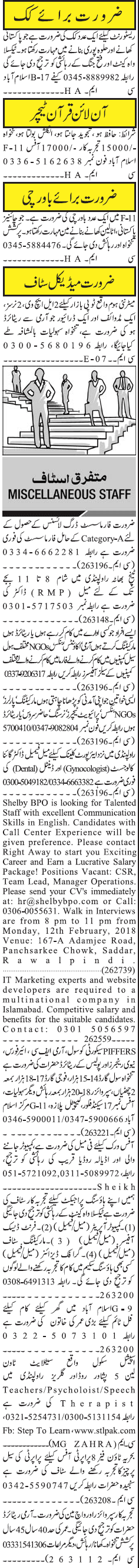 Cook, Online Quran Teachers, Midwife, Pharmacists Wanted
