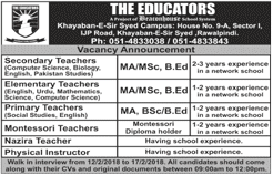 Teachers Job in The Educators School Rawalpindi