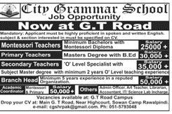 Teachers Job in City Grammar School
