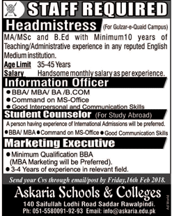 Headmistress Job in  Askaria Schools & Colleges