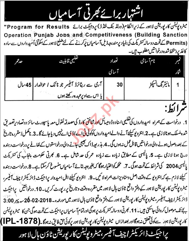 Metropolitan Corporation Lahore Jobs for Monitory Inspector