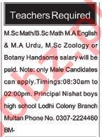 Teacher required in Multan