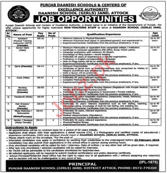 Punjab Daanish Schools PDS & CEA Attock Jobs 2018